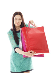 Young pretty woman makes shopping