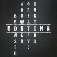 Web development concept: word Hosting in Crossword Puzzle