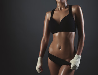 Close up image of middle eastern female in sports clothing relax