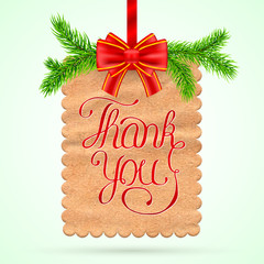 Christmas thank you card with red ribbon