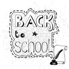 Background with handwritten inscription Back to school.