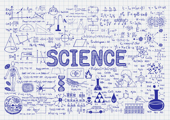 Hand drawn science on paper