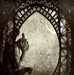 Full moon / Textured grunge paper background with Paris architecture vintage style - Chimera (demon) of Parisian Notre Dame, full moon and Eiffel Tower profile
