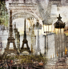 Dreams of Paris / Textured grunge paper background with Paris Eiffel Tower different profiles architecture vintage style