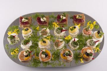 Glass platter of snacks