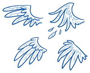 Birds or angel wings, feathers. Hand drawn doodle vector illustration.