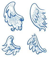 Romantic birds or angel wings, feathers. Hand drawn doodle vector illustration.