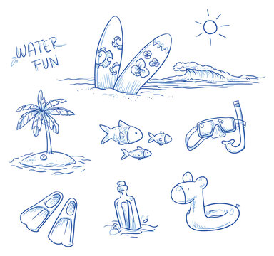 Icon set summer beach holidays, vacation with surboard, palm tree, fish, swimming toy, snorkel, flippers and message in a bottle. Hand drawn doodle vector illustration.