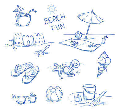 Icon set summer beach holidays, vacation with sand castel, shoes, ice cream, shells, ball, drink, towel, sunglasses, parasol. Hand drawn doodle vector illustration.