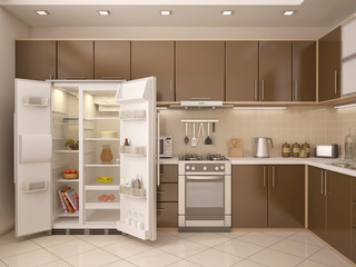 3D illustration of kitchen interior with an open refrigerator