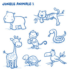 Cute cartoon jungle, safari animals. hippo, tiger, giraffe, monkey, snake, tortoise, bird, tucan. Hand drawn doodle vector illustration.