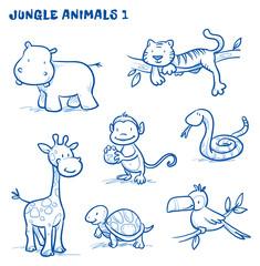 Cute cartoon jungle, safari animals. hippo, tiger, giraffe, monkey, snake, tortoise, bird, tucan. Hand drawn doodle vector illustration.