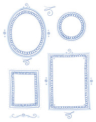 Nostagic picture frame collection round, egg, oval and square shape, for invitiation, marriage and easter cards. Hand drawn vector illustration.