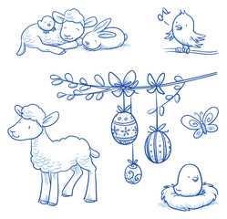 Cute easter icon and animal pet collection, with easter eggs on pussy willow branch,  rabbit, lamb, chicks and butterfly. Hand drawn vector illustration.