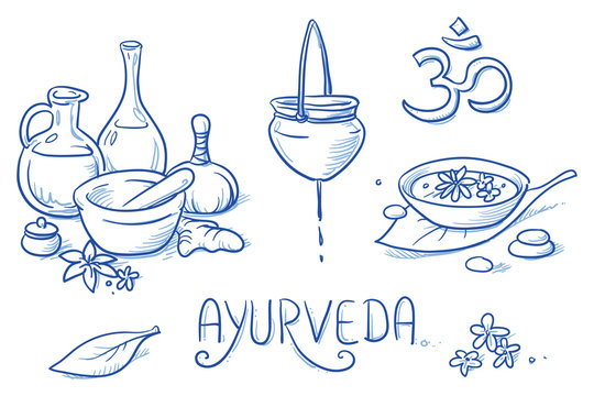 Icon item set ayurveda wellness, spa, with oil bottles, ingredients, water bowl, oil treatment. Hand drawn doodle vector illustration.