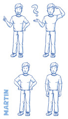 Casual man illustration in different emotions and poses, angry, happy, thoughtful, clueless, hand drawn sketch - Martin part 2