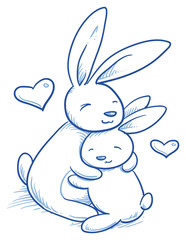 Cute baby bunny and adult cuddling, hugging, for easter or baby shower card. Hand drawn line art vector illustration.