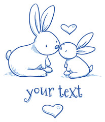 Cute baby bunny and adult cuddling, kissing, for easter or baby shower card. Hand drawn line art vector illustration.