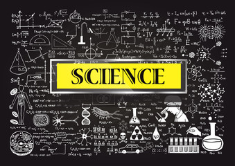 Hand drawn about Mathematics on chalkboard with the world SCIENCE in transparent frame with yellow background