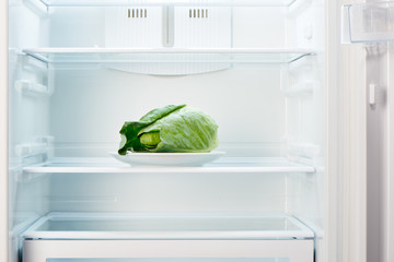 Green cabbage on white plate in open empty refrigerator