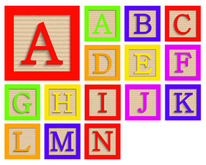 Vector modern wooden alphabet blocks set
