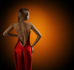 Woman Naked Back, Womanly Fashion Model Posing Sexy Red Dress