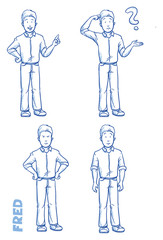 Casual man illustration in different emotions and poses, angry, happy, thoughtful, clueless, hand drawn sketch - Fred part 2