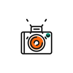 Color line icon for flat design. Camera, photo