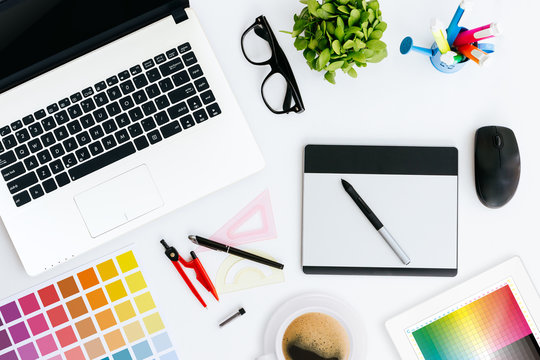 professional creative graphic designer desk