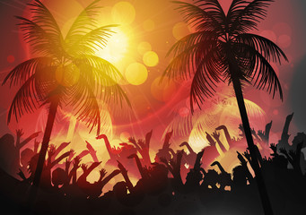 Tropical Beach Party Vacation Background Design with Palm Trees - Vector Illustration