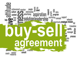 Buy-sell agreement word cloud with green banner