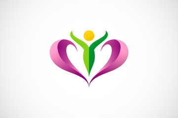 beauty woman spa fitness abstract love logo