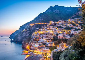 Sun set view of Positano village at Amalfi Coast, Italy. Wall mural