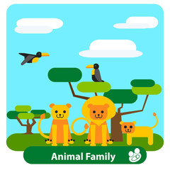Cartoon lion family  with trees and birds