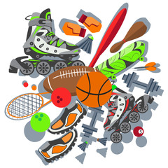 Sporting goods basketball ball, sneakers, racket, boxing gloves
