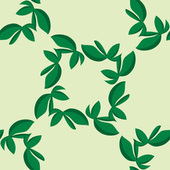 Tiled Green Leaves Pattern