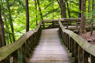 Beautiful boardwalk at Brandywine Falls in Cuyahoga National Park near Cleveland Ohio