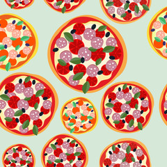 Pizza Italy seamless pattern. Vector background food
