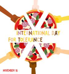 International Day for Tolerance. 16 November. Hands of different