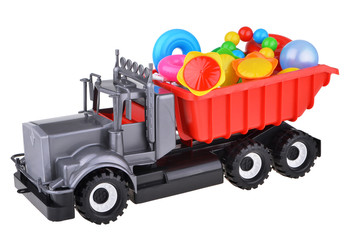 plastic toy truck with toys