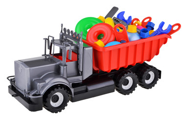 plastic toy truck with instruments