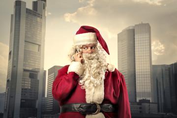 Santa Claus doing a phone call