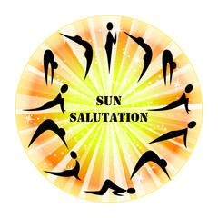 Illustration of yoga exercise Sun Salutation Surya Namaskara.