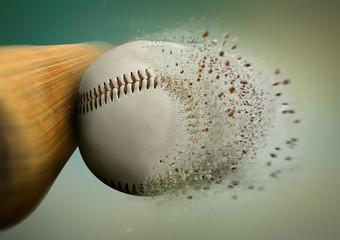 baseball hit with the ball disintegrating