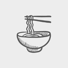 Bowl of noodles with a pair chopsticks sketch icon