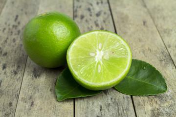 lime slice on wood plank