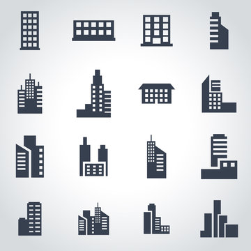 Vector black building icon set