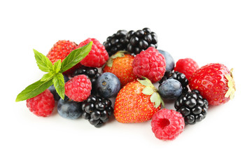 Fresh sweet berries isolated on a white