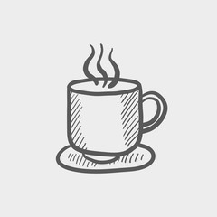 Cup of hot coffee sketch icon