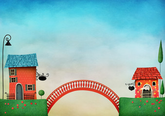 Illustration with colorful houses and bridge